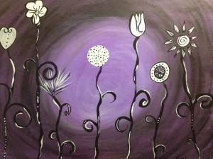 Whimsical Flowers In Purple